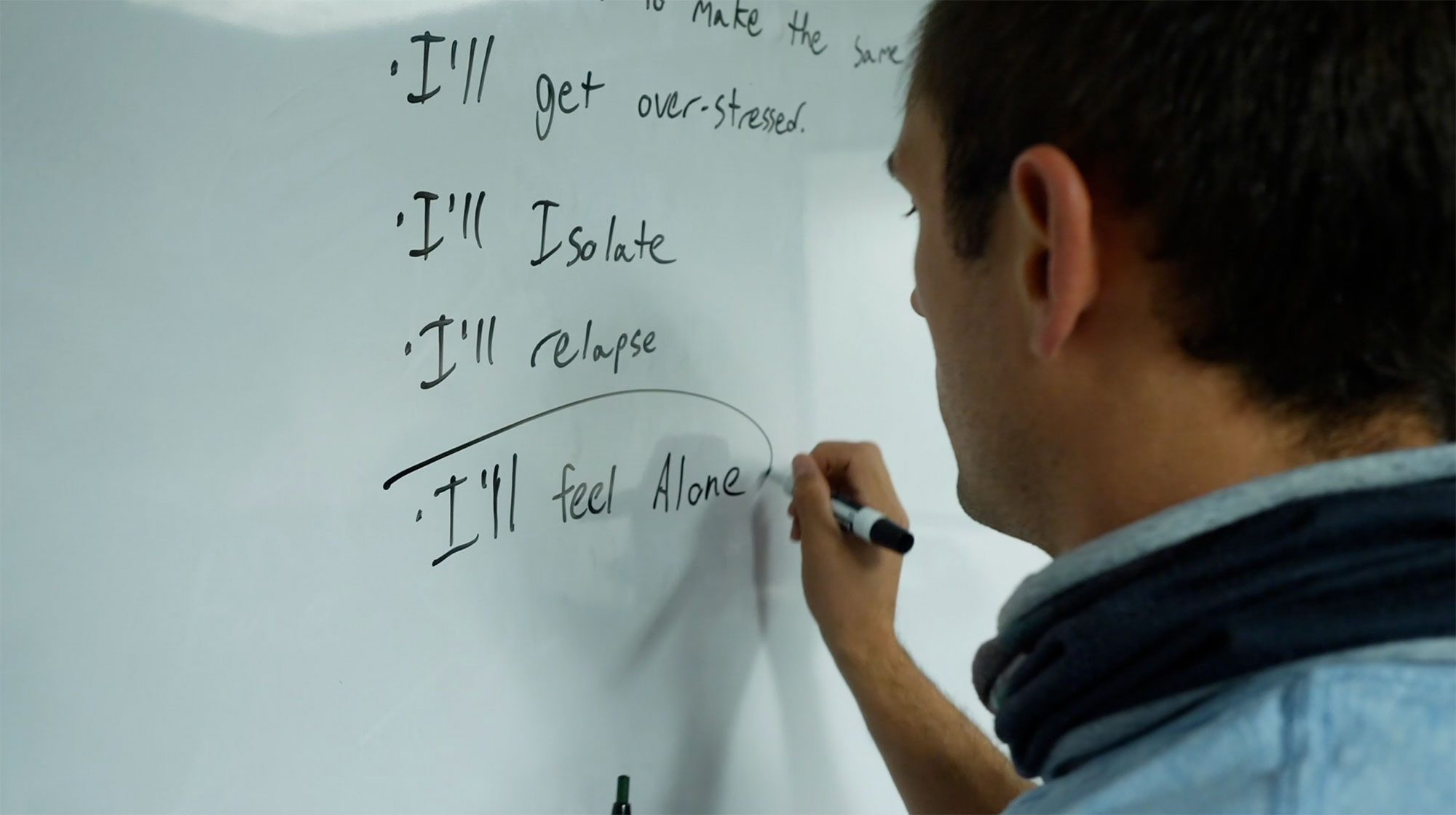 White board with man writing